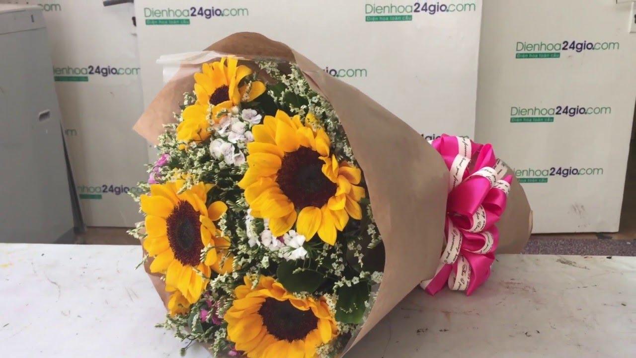 Bó hoa hướng dương - Điện hoa 24 giờ - YouTube