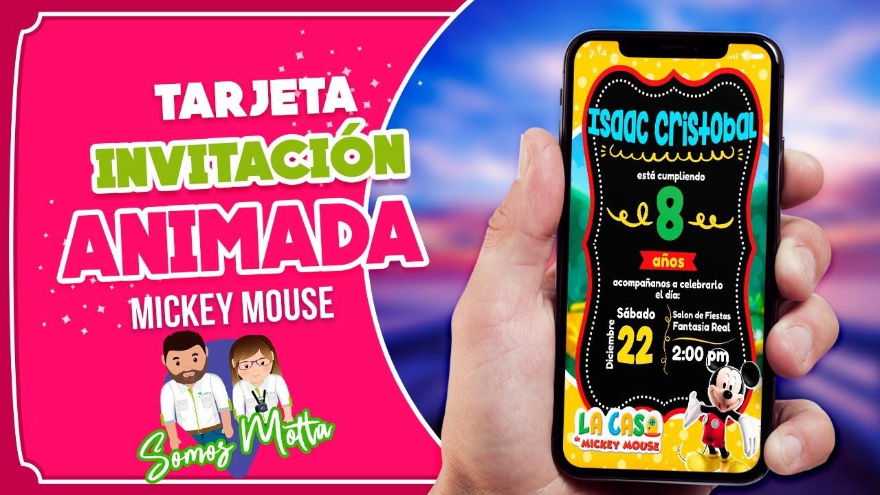 Tarjeta De Invitación Animada De Mickey Mouse