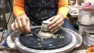 Trimming Miniature Pots with a chum and chuck on the Potter