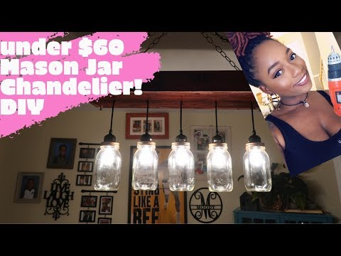 DIY MASON JAR LIGHT | BUDGET FRIENDLY FARMHOUSE DECOR | MAKE A CHANDELIER WITH ONLY A POWER DRILL