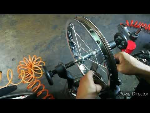 """สานซี่ลวดขึ้นวงล้อ 16""""นิ้ว ล้อธรรมดาเบสิคๆ Spoke weaving of bicycle wheels"""
