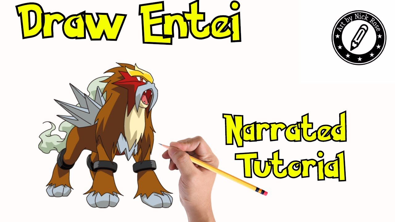 How To Draw Pokemon Draw Entei Legendary Pokemon Drawing Tutorial