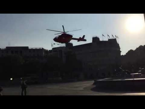 Air ambulance lands in Trafalgar Square