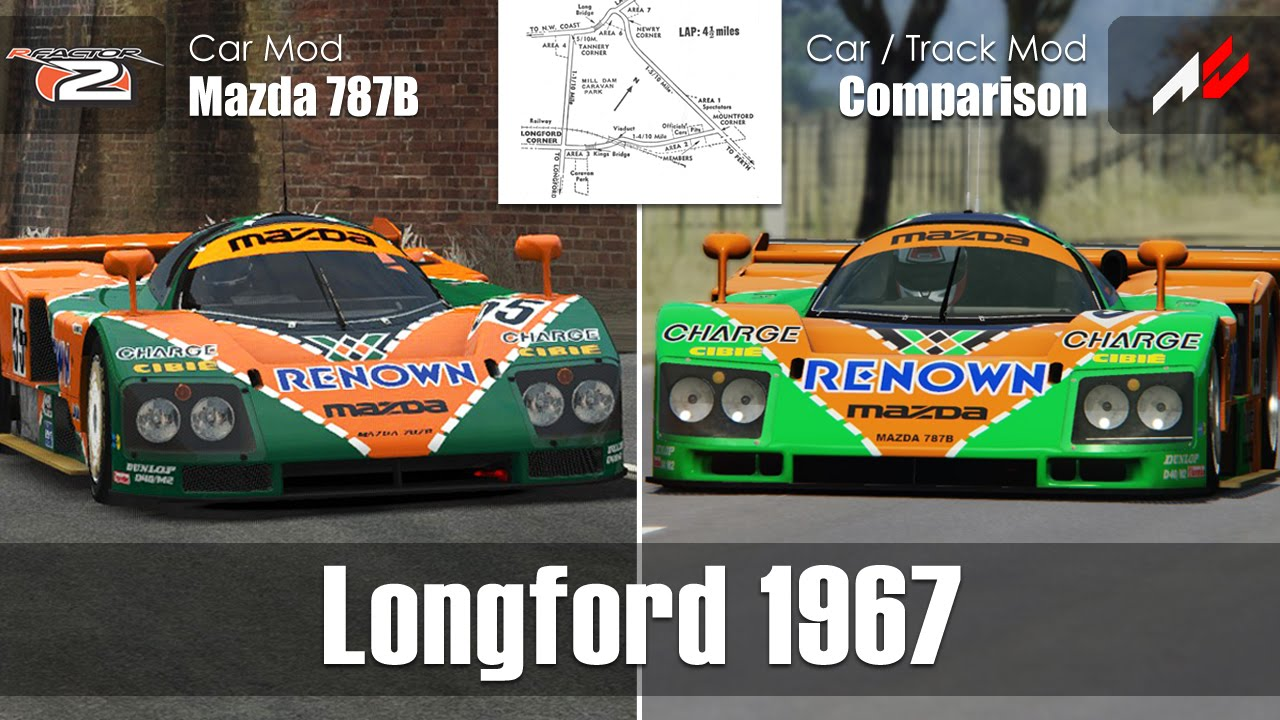 Longford 1967 - Mazda 787B - Mod Car / Track Comparison - rFactor 2 /  Assetto Corsa