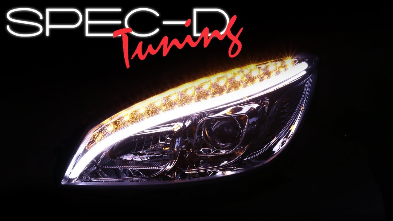SPECDTUNING DEMO VIDEO: 2008-2011 MERCEDES W204 C-CLASS LED DRL PROJECTOR  HEADLIGHTS