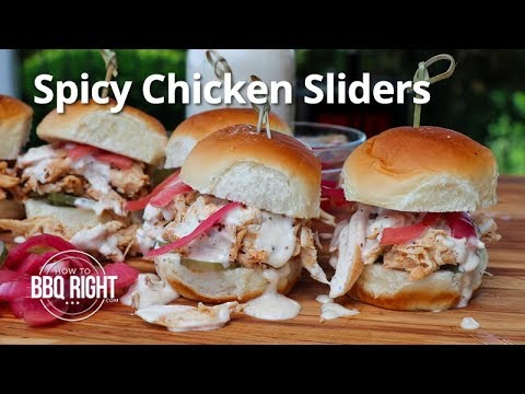 Spicy Chicken Sliders with a Whole Smoked Chicken