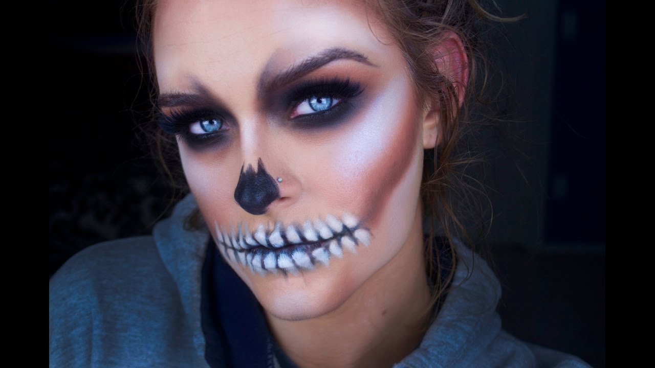 easy halloween skull makeup tutorial youtube - Halloween Skeleton Makeup Ideas