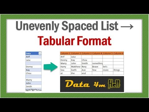 Convert unevenly spaced data to tabluar format - Power Query - Data from Hell