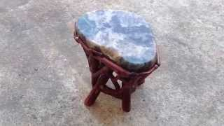 Crystal Stone Top Bamboo Wood Sticks Accent Stool Table Cs379