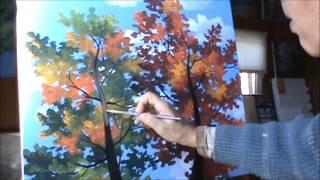 как рисовать деревья, используя акриловые на холсте живопись  урок  искусство  класс