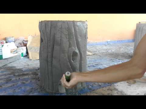 วิธีทำตอไม้จากปูนซีเมนต์