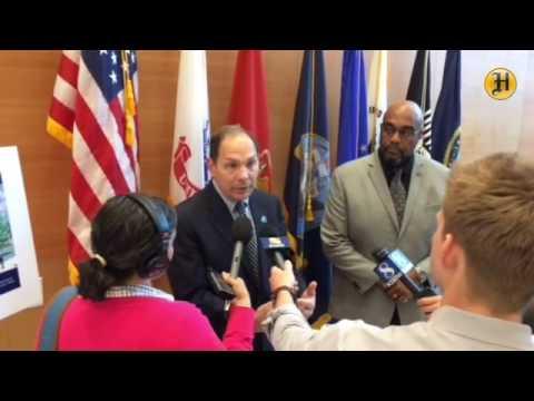 Secretary Robert McDonald, addresses the media at the new VA-DOD outpatient clinic in Marina