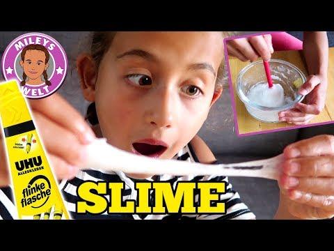 UHU SCHLEIM SLIME - Mileys DIY Versuch mit Kleber und Wasser   MILEYS WELT
