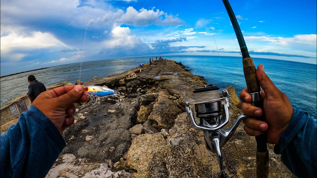 Catching BIG Saltwater Fish From a Rock Jetty on Artificial Lures