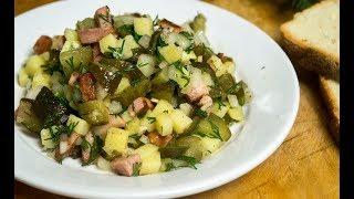 Картофельный салат с копченой грудинкой