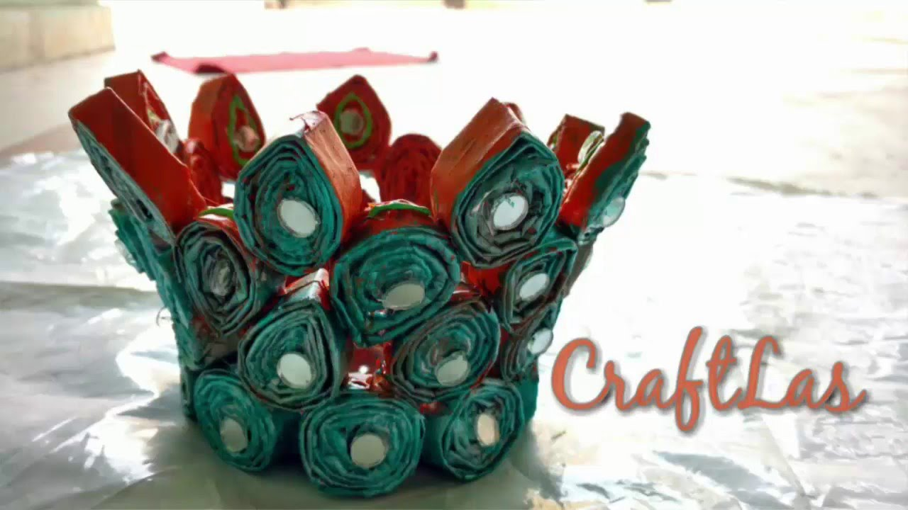 DIY Recycled Newspaper Basket Making Idea