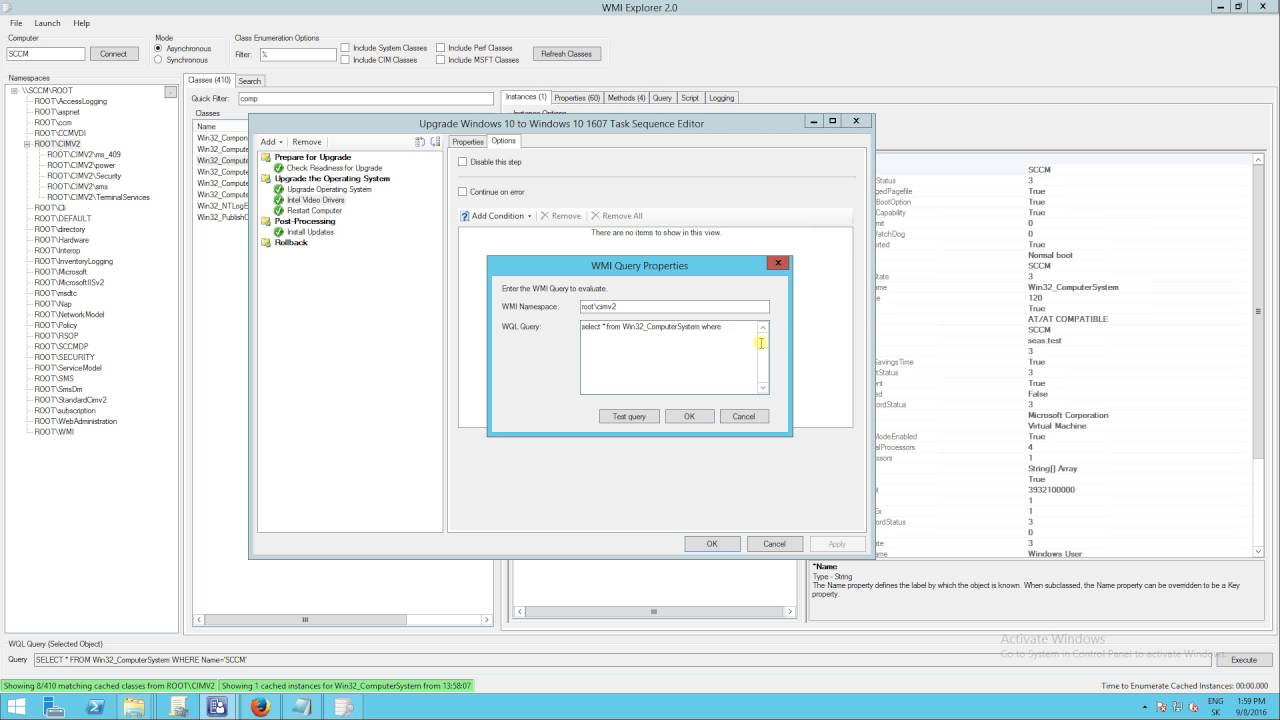 SCCM CB 1606 - Task sequence, apply driver package to specified model via  WMI query