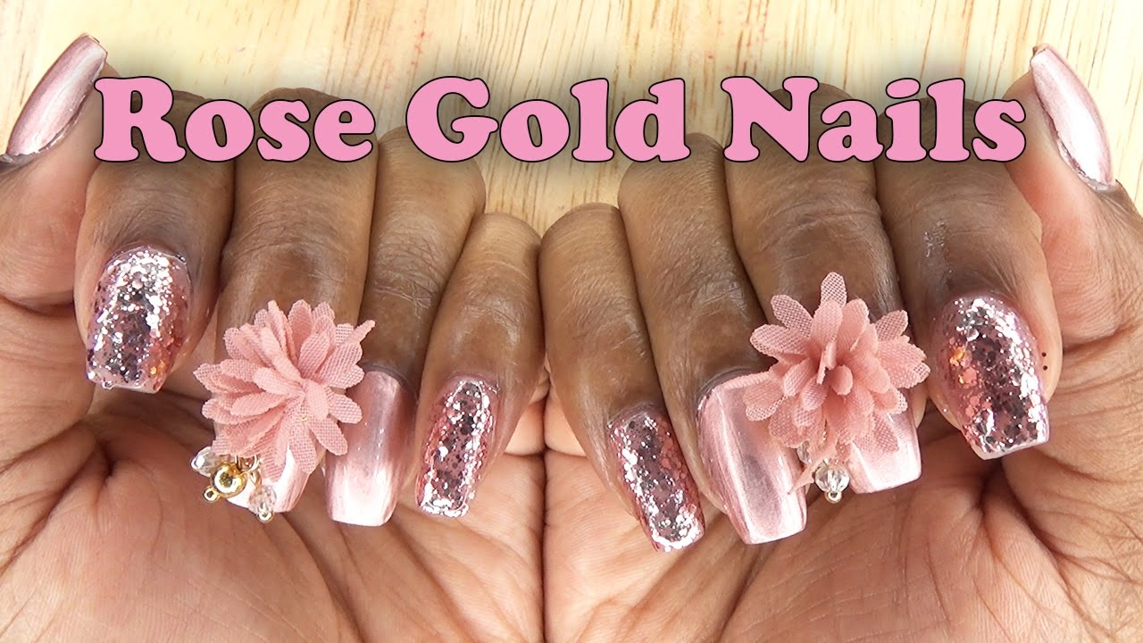 Acrylic Nails Short Rose gold Nails - LongHairPrettyNails - YouTube