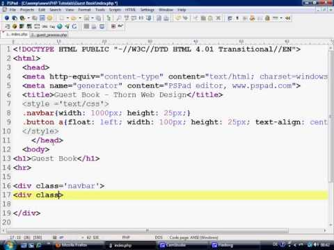 PHP Tutorials - Making a simple Guest Book part 1