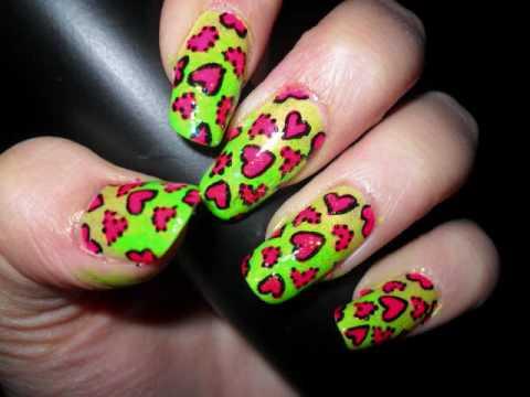 Neon Love Nails
