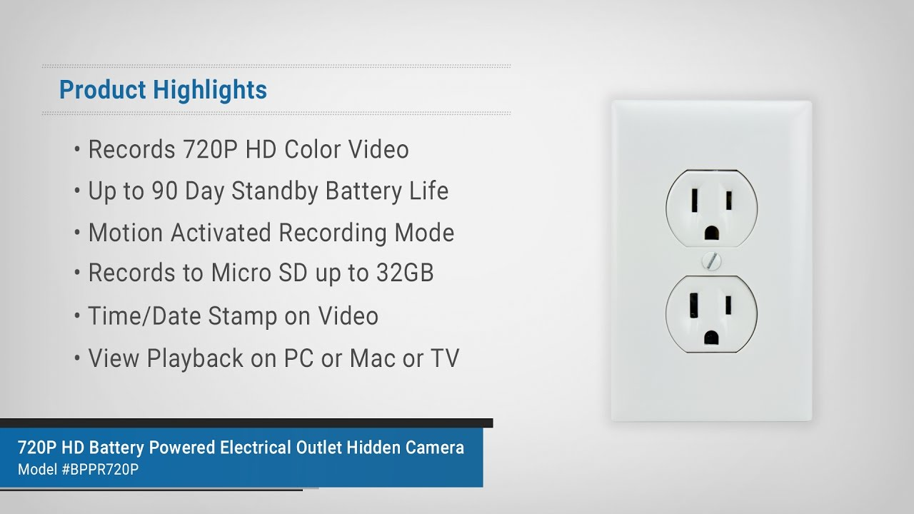 Battery Powered Outlet >> Spygeargadgets 720p Hd Battery Powered Electrical Outlet Hidden Camera Overview And Sample Footage