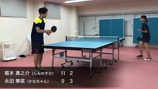 卓球センター.JPの卓球コーチを務める堀本真之介と永田華菜がゲーム練習...