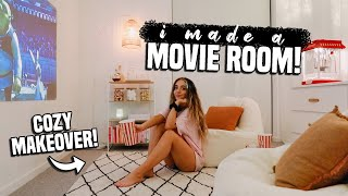 I made a movie room in my apartment. HUGE room makeover! (Vlogmas 2020!)
