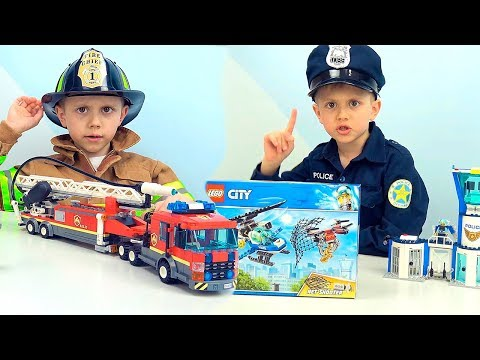 Полицейские и Пожарные ЛЕГО СИТИ и Даник - Новые наборы Полиции и Пожарных для детей