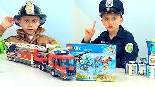 Фото Полицейские и Пожарные ЛЕГО СИТИ и Даник   Новые наборы Полиции и Пожарных для детей