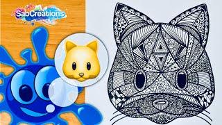 🐱 Comment dessiner un CHAT emoji zen art - Tuto Time lapse - Dessin méditatif - SABCREATIONS