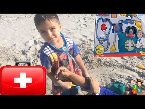 family-fun-trip-to-beach-|-doctor-checkup-syringe-injection-pretend-play-|-kids-playing-in-sand