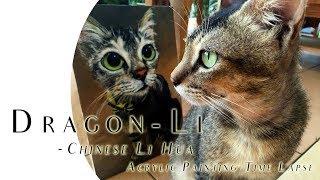 Chinese Li Hua Cat Portrait Painting | Acrylic Speed Paint | 狸花貓 縮時繪畫