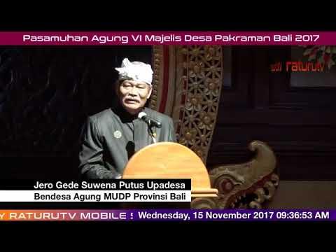 Pasamuhan Agung VI Majelis Desa Pakraman Bali 15112017 Live on facebook