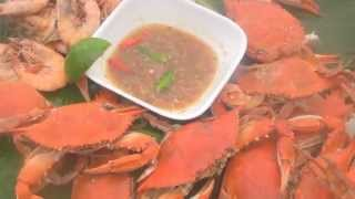 Spicy Lime Dipping Sauce;  Crabs And Shrimps Boiled