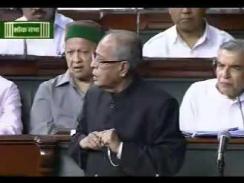 Pranab Mukherjee speaking in parliament during debate on Budget 2012 : 27 March, 2012