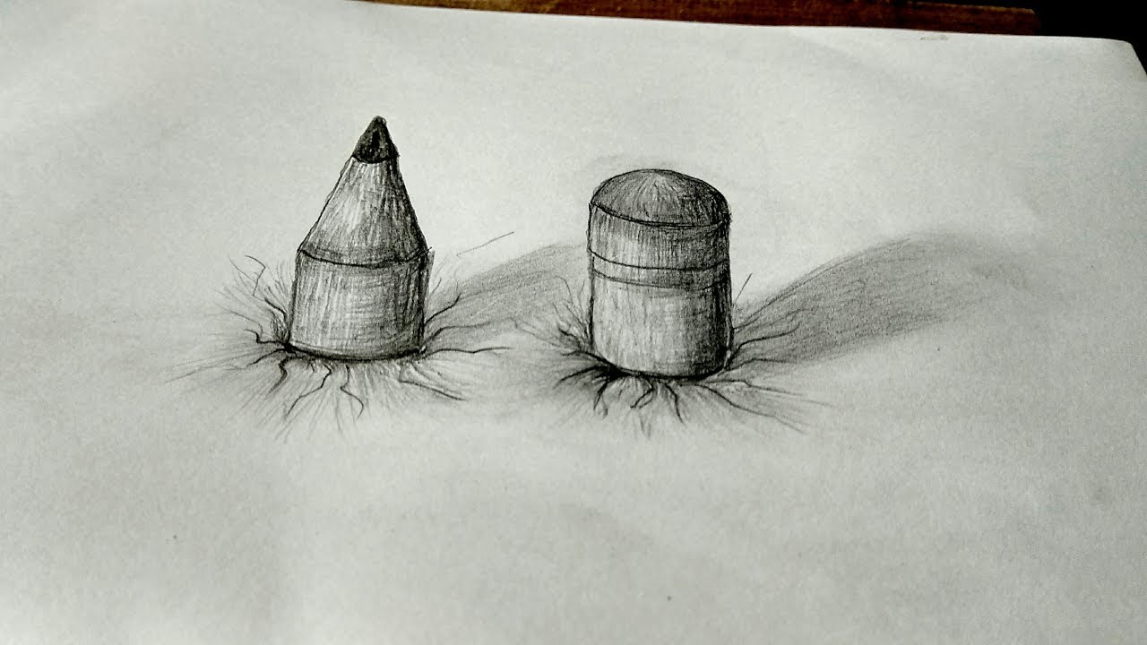 Cara menggambar pensil 3d