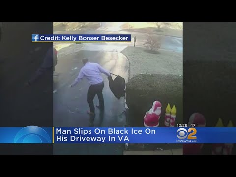 Caught On Video: Man Slips On Black Ice In Driveway