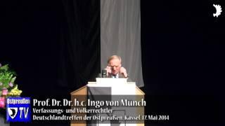 """Verleihung des Ostpreußischen Kulturpreises an Prof. Ingo von Münch (""""Frau, komm!"""