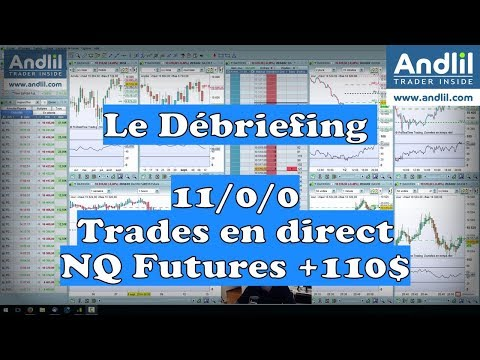 Débriefing Trading Bourse,  Trade en direct +110$ sur le Nasdaq Futures NQ
