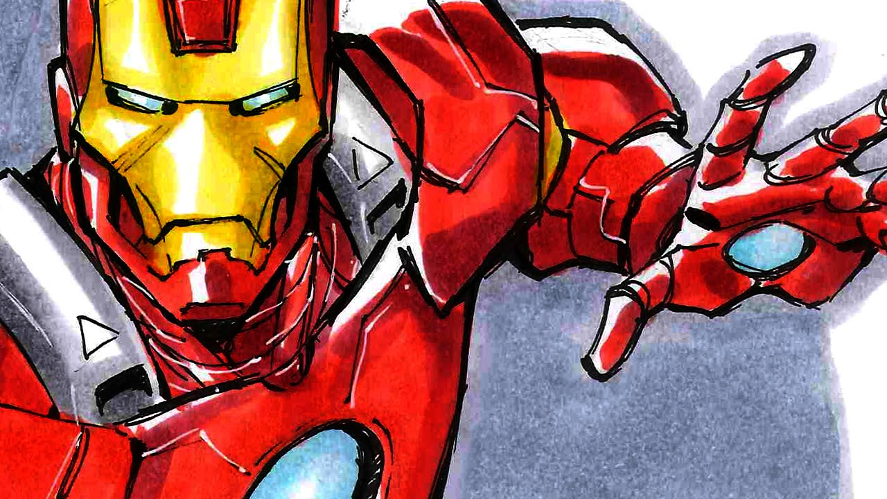 Todd Nauck Inking Coloring Iron Man Sdcc 2014 Youtube