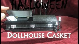 Halloween Wood and Aluminum Dollhouse Miniature Casket Coffin Opens and Closes Day of the Dead
