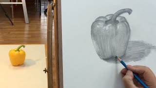 How to draw a yellow pepper