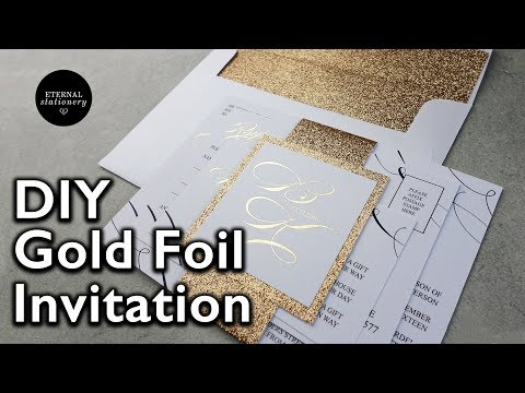 D.I.Y Gold foil belly band Wedding Invitations | How to make your own wedding invitation