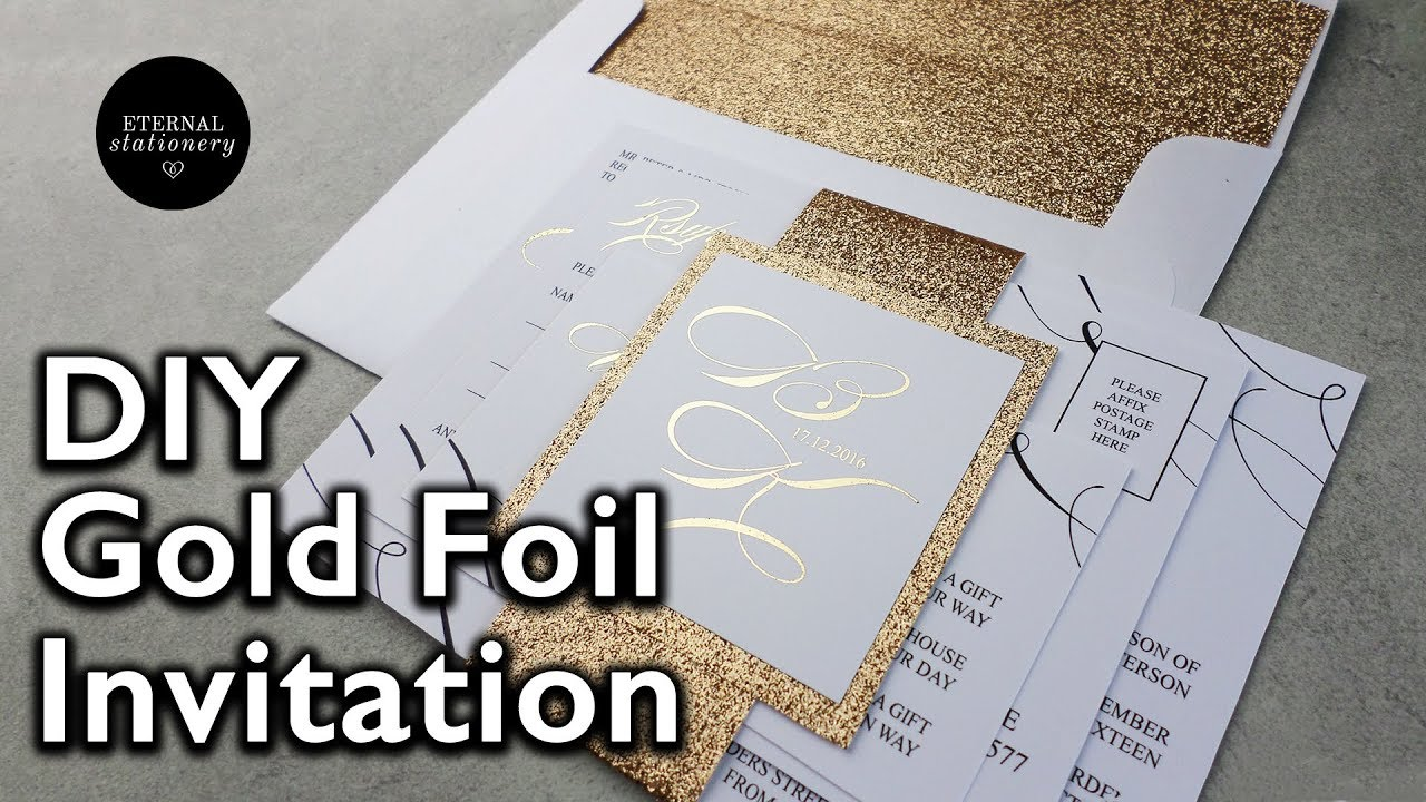 Diy gold foil belly band wedding invitations how to make your diy gold foil belly band wedding invitations how to make your own wedding invitation eternal stationery junglespirit Images
