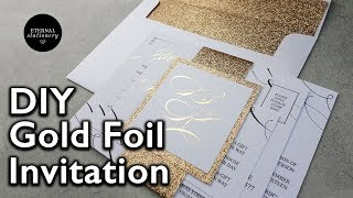 D.I.Y Gold foil belly band Wedding Invitations   How to make your own wedding invitation