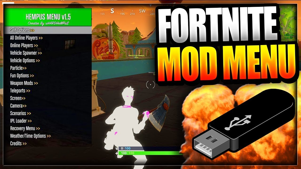 fortnite battle royale usb mod menu on pc xbox one ps4 working fortnite mod menu trolling hacks - how to hack on fortnite ps4