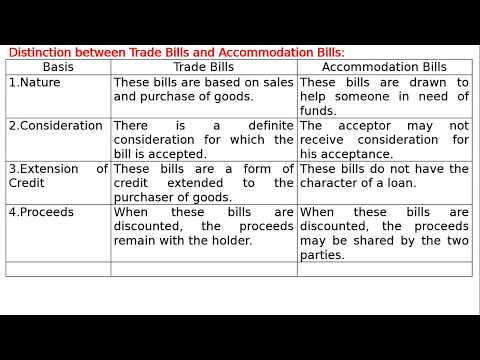 Distinction between Trade Bills and Accommodation Bill
