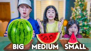 BIG MEDIUM And SMALL Food Challenge!! (Di maubos natalia) | Ranz and niana