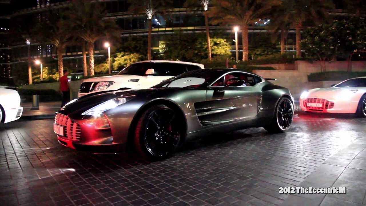 Two (Yes, Two!) Aston Martin One-77 Q-Series at The Dubai Mall - YouTube