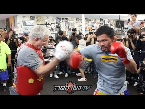 DAMN! MANNY PACQUIAO DROPS FREDDIE ROACH'S MITT TRAINING FOR KEITH THURMAN, SPEED 100%
